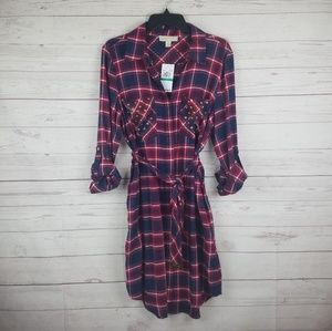 Michael Kors Large Red Navy Plaid Flannel Dress